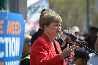 Australian Greens - Christine Milne speaking at the Peoples Climate March in Melbourne in September 2014