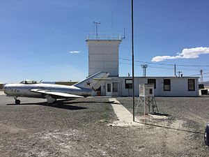 2015-04-18 12 22 48 Old jet aircraft and air traffic control facilities at Lovelock Airport-Derby Field in Pershing County, Nevada.jpg