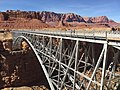 2016-03-20 14 27 57 View north across the Colorado River from the south end of the original Navajo Bridge (former U.S. Route 89A) in Marble Canyon, Arizona.jpg