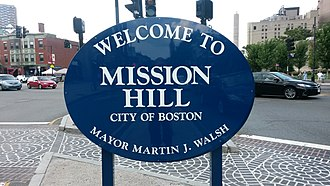 Mission Hill, Boston - Welcome sign in Brigham Circle intersection, Mission Hill, Boston, near front of Stoneman Plaza, BWH