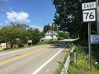 West Virginia Route 76 - View east along WV 76 in Flemington