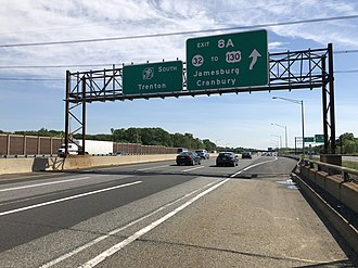 South Brunswick, New Jersey - View south along the New Jersey Turnpike (I-95) just north of Exit 8A in South Brunswick