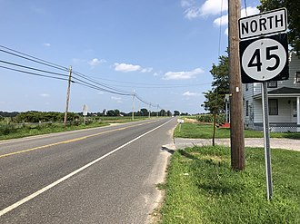 Mannington Township, New Jersey - Route 45 northbound in Mannington Township