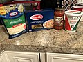 2019-03-11 07 29 40 Ingredients for jumbo stuffed shells (Kraft Mozzarella Cheese, Barilla Jumbo Shells, Prego Italian Sauce, Maggio Ricotta Cheese) in Ewing Township, Mercer County, New Jersey.jpg