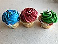 2019-12-18 14 50 42 Three cupcakes, one with blue frosting, one with red frosting and one with green frosting, in the Dulles section of Sterling, Loudoun County, Virginia.jpg