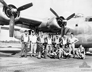 No. 23 Squadron RAAF - The crew of a No. 23 Squadron B-24 with their aircraft in June 1945