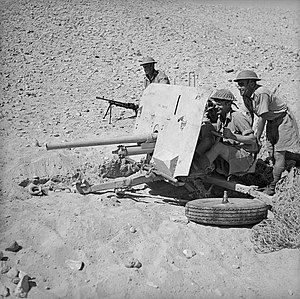 6th Infantry Brigade (New Zealand) - A 2-pounder antitank gun in position, probably during 6th Infantry Brigade manoeuvres at El Saff, Egypt.