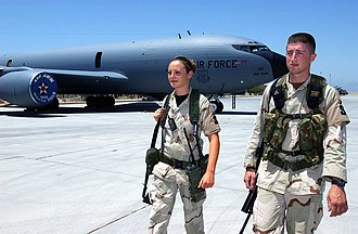 321st Air Expeditionary Wing - 321st Expeditionary Security Forces Squadron airmen patrol the flight line