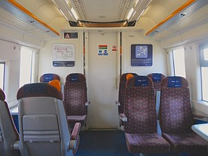 British Rail Class 375 - The interior of First Class cabin prior to refurbishment