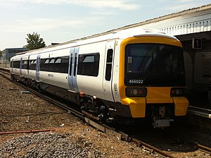 British Rail Class 466 - 466022 in trial southeastern livery at Sheerness-on-Sea in 2011