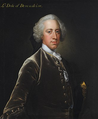 Duke of Devonshire - William Cavendish, 4th Duke of Devonshire briefly Prime Minister between 1756 and 1757.