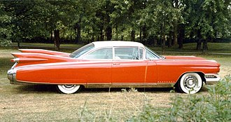 Car tailfin - The tailfin at its apex on the 1959 Cadillac Eldorado