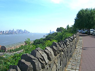Boulevard East - View facing south in Weehawken. Much of the overlook is lined with trap rock quarried from the cliffs