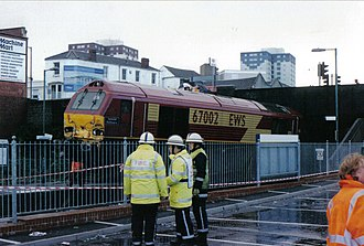 Lawrence Hill railway station - Image: 67002 Lawrence Hill Station, Bristol 2000