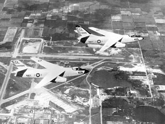 Naval Air Station Sanford - A3D-2 (A-3B) Skywarriors of VAH-7, BuNo 138916 and Buno 142660, over NAS Sanford in the early 1960s