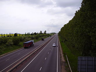 A34 road - The A34 looking North towards Didcot, in Oxfordshire, with the power station visible