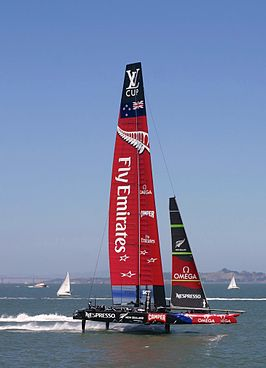 De AC72 van Team New Zealand