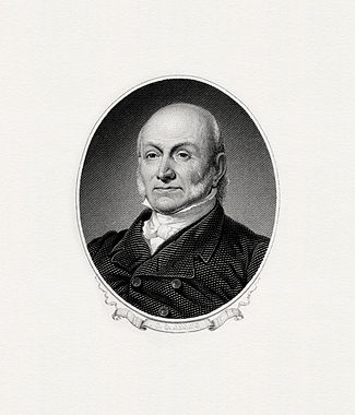 BEP engraved portrait of Adams as president.