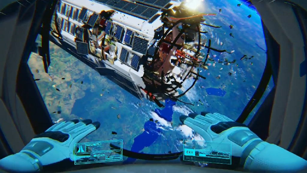 First-person view of the player character floating through a damaged space station, with the Earth in the background.