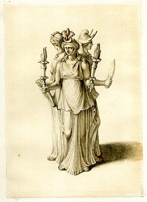 Hecate - Statuette of Triple-bodied Hekate. Pen, ink and light brown and grey wash.