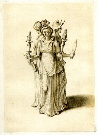 Goddess movement - Early nineteenth-century drawing depicting a statuette of a triple-bodied Hecate