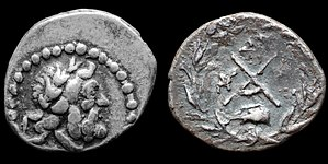 Dyme, Greece - O: laureate head of Zeus