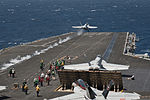 A U.S. Navy F-A-18C Hornet aircraft assigned to Strike Fighter Squadron (VFA) 146 launches from the aircraft carrier USS Nimitz (CVN 68) in the Pacific Ocean April 8, 2013 130408-N-LP801-313.jpg