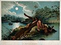 A crocodile emerging from the water and biting off a woman's Wellcome V0022948.jpg