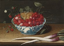 Abraham Gibbens Still Life with Strawberries, Cherries and Gooseberries In a Blue And.jpg