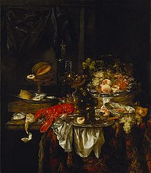 Abraham van Beyeren: Naturaleza muerta de un banquete con un ratón
