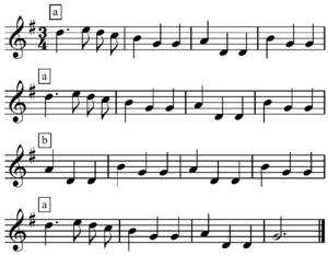 Repetition (music) - Image: Ach! due lieber Augustin repetition
