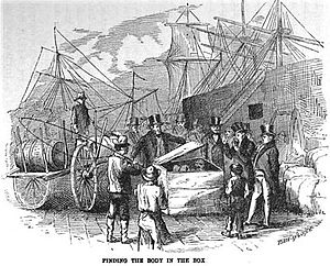 John C. Colt - Authorities open the crate containing the body of Adams, – Sutton 1874
