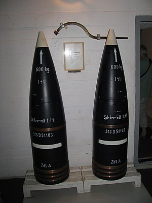 """40.6 cm SK C/34 gun - 600 kg """"Adolf"""" shells with extended range; Harstad"""