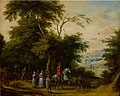 Adriaen van Stalbemt (Attr.) - Wooded landscape with a cavalryman and other figures in the foreground.jpg