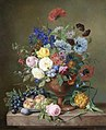 Adriana van Ravenswaay A vase of mixed flowers and fruit on a marble ledge.jpg