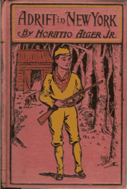 Cover of a 1900 New York edition of Adrift in New York by Horatio Alger, Jr.