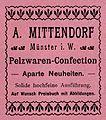 Advertisement Furrier Mittendorf, Münster (Westfalia) (1902).jpg