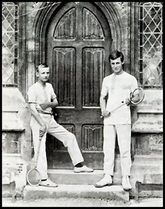 Rackets (sport) - R. P. Keigwin (right) with AEJ Collins the College's rackets team at Clifton College c. 1902