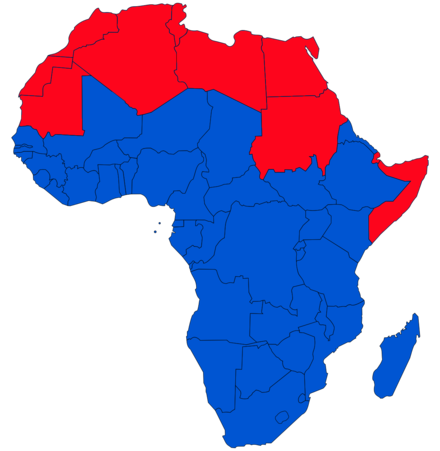 Red: Arab states in Africa (Arab League and UNESCO). Africa map.png