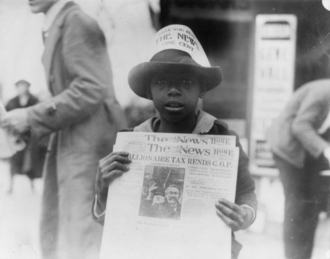 """The Washington Daily News - A boy selling The Washington Daily News - sign on his hat reads, """"Have you read The News? One cent"""" - headline reads """"Millionaire tax rends G.O.P."""""""