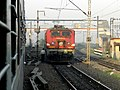 After 2 minutes parallel action, HWH WAP4 gave up to our diesel hauled Poorva at MGS west cabin - Flickr - Dr. Santulan Mahanta.jpg