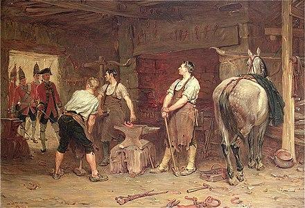After Culloden - Rebel Hunting, tableau de John Seymour Lucas représentant un atelier de maréchal-ferrant (1884).