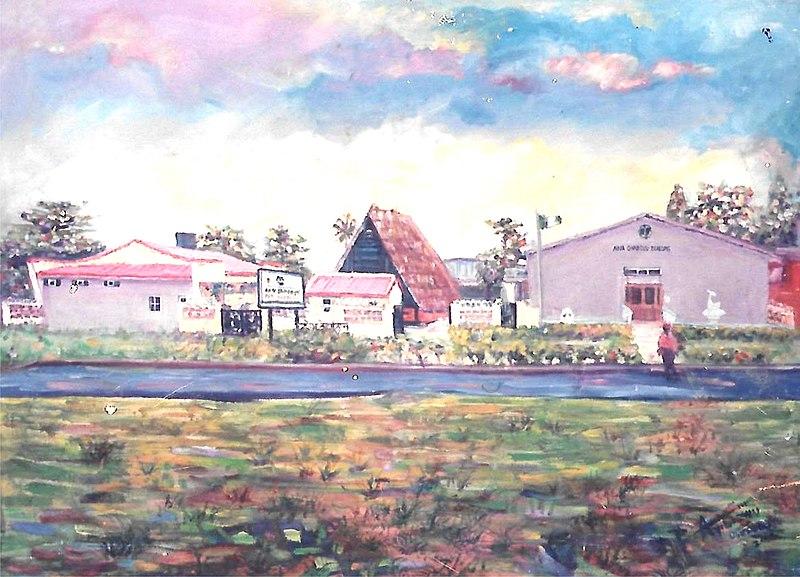 File:Aina Onabolu Complex at National Theater Iganmu Lagos Nigeria Painting Medium Oil on Canvas Artist Olusola David, Ayibiowu Year 2000.jpg