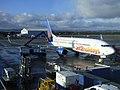 Aircraft anti-icing at Glasgow Airport (geograph 6378280).jpg