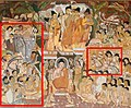 Ajanta Cave 17, antechamber to the shrine, Adoration of the Buddha (color illustration) with foreigners highlighted.jpg