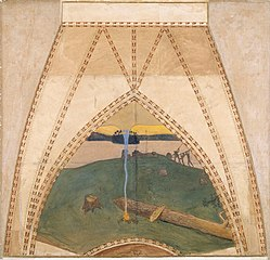 Heathendom and Christendom, Sketch for the cupola frescos of the Finnish Pavilion in Paris