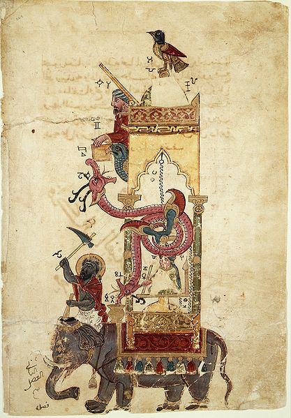 Archivo:Al-Jazari Automata Elephant-Clock 1315.jpg