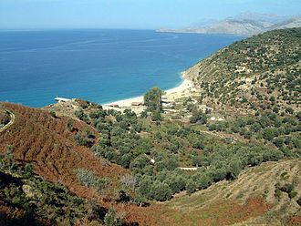 Agriculture in Albania - The Albanian Riviera and its olive and citrus plantations.