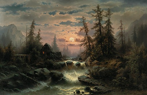Albert Rieger - Mountain Stream in the Moonlight