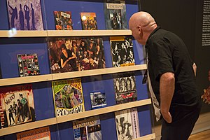 """Tony Mott - Album covers on display. Exhibition: """"What a Life!"""" State Library of NSW"""